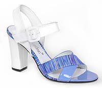 Босоножки женские кожаные ТМ Лидер белые с голубым