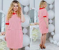 Красное трикотажное платье с воротником, короткий рукав батальное. Арт-5499/48