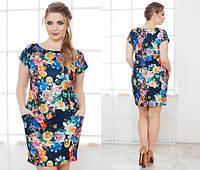 """Модное платье с принтом """"цветы"""" с карманами, больших размеров. Арт-5500/48"""