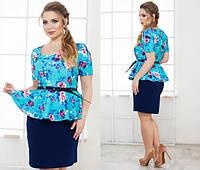 """Модное платье с баской принт """"цветы"""", пояс в комплекте, больших размеров. Арт-5501/48"""