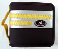 Папка для 40 диск. черная с серебром, жёлтыми полосами и ручкой