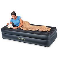 Надувная кровать Интекс 66721 с подголовником, велюр, винил, 102х203х47см, max вес 136 кг, темно-синяя