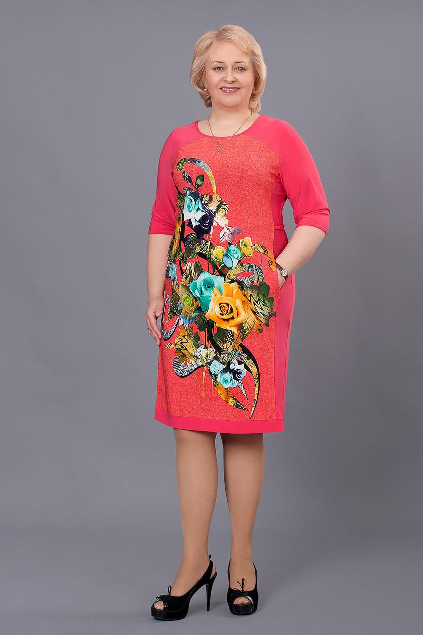 5a9cf5d007ce4ef Яркое нарядное праздничное летнее платье Колибрибольших размеров, р ...