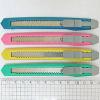 Нож канцелярский 9мм, OPP, mix