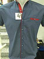 Легкая мужская рубашка с красными вставками