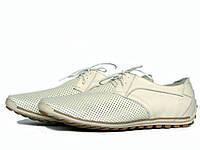 Мужские светлые кожаные туфли с перфорацией, фото 1