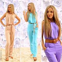 Модный женский комбинезон с вертикальными складками / Украина / костюмка