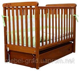 Ліжечко для новонароджених Соня ЛД 12 з маятником і ящиком Верес вільха