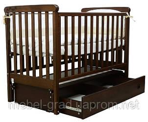 Ліжечко для новонароджених Соня ЛД 12 з маятником і ящиком Верес горіх