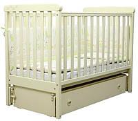 Кроватка для новорожденных Соня ЛД 12 с маятником и ящиком Верес слоновая кость