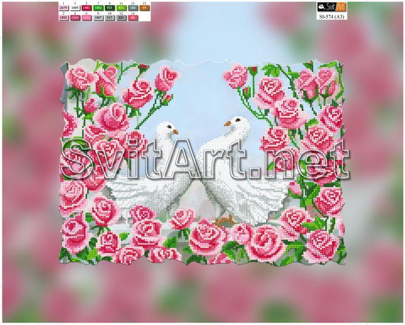 Схема для вышивки голуби на розах
