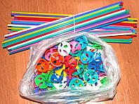 Палочки цветные для шариков. Длина- 35см. Диаметр насадки 40мм. В упаковке-100шт., фото 1