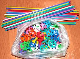 Палочки цветные для шариков. Длина- 35см. Диаметр насадки 40мм. В упаковке-100шт.