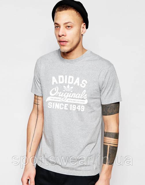 Футболка серая Adidas Original (Белый принт )
