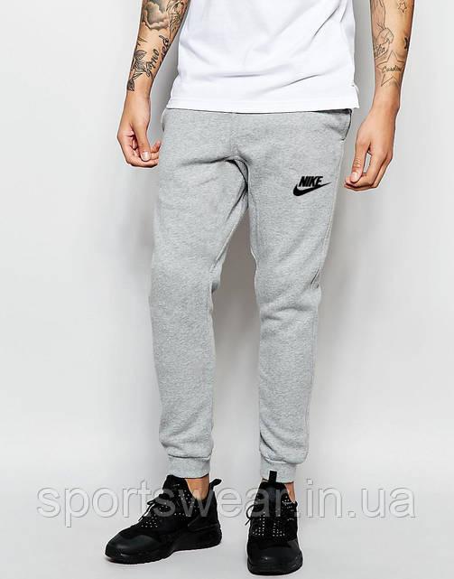 Мужские спортивные штаны Nike |  Найк серые ( значек + имя )