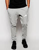 Спортивные штаны Nike серые ( значек + имя ) Белый принт