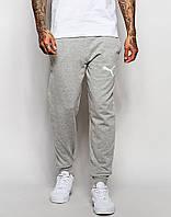 Мужские спортивные штаны PUMA | ПУМА серые ( Белый принт )