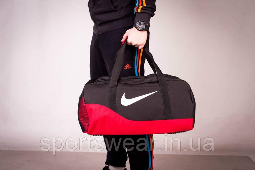 Спортивная сумка NIKE черная с красным ( лого принт )