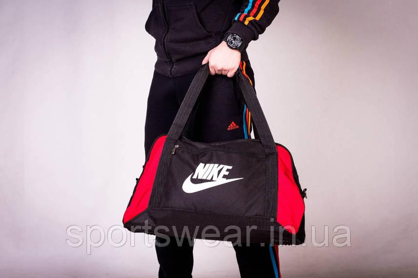 Спортивная сумка NIKE черная с зеленым ( лого принт )