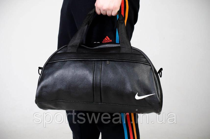 Спортивная сумка NIKE черная с белым лого ( вишито )