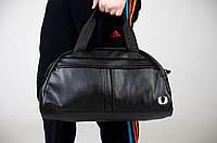 Спортивная сумка Fred Perry черная с белым лого ( вишито )