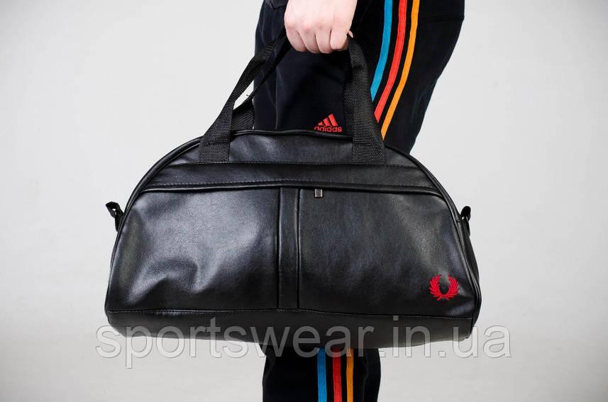 Спортивная сумка Fred Perry черная с красным лого ( вишито )