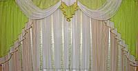 Ламбрекен №52 на карниз 3 метра, цвет салатовый с белым. У