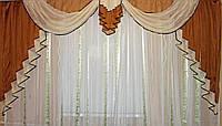 Ламбрекен №52 на карниз 3 метра, коричневый