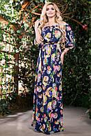 Яркое Летнее Платье в Пол Синее с Принтом S-M