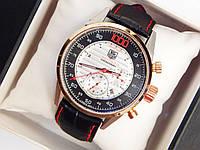 Мужские механические наручные часы Tag Heuer 1000 Mikrotimer Chronograph на кожаном ремешке