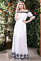 Летнее Длинное Платье из Батиста с Вышивкой Белое S-3XL