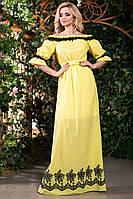 Летнее Длинное Платье из Батиста с Вышивкой Желтое S-3XL