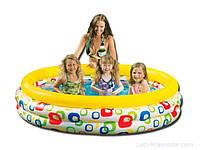 Надувной бассейн для дачи детский Intex 58449 Круг, 3 камеры-кольца, 168х41см, 634л, сверхпрочный винил