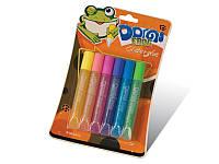 """Клей силиконовый с блестками на картоне """"Domi Frog"""" (3D/6 цветов,10.5 мл.)"""