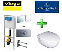Инсталляция Viega 713386 с унитазом VILLEROY&BOCH Tube 56351001 с крышкой soft-close
