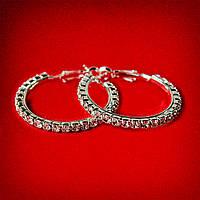 [35 мм] Серьги-кольца итальянский замок с белыми стразами маленькие светлый металл
