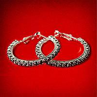 [35 мм] Серьги-кольца итальянский замок с черными стразами маленькие светлый металл
