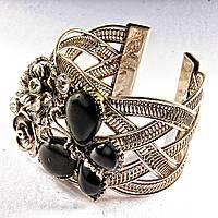 Браслет черный Агат широкий скобка  металл Бабочка и цветы ажурные со стразами