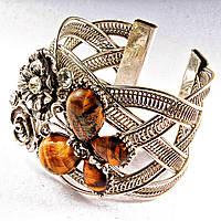 Браслет Тигровый Глаз широкий скобка  металл Бабочка и цветы ажурные со стразами