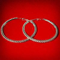 [65 мм] Серьги-кольца итальянский замок с белыми стразами большого размера светлый металл