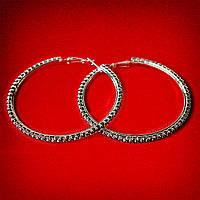 [65 мм] Серьги-кольца итальянский замок с черными стразами большого размера светлый металл