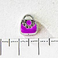[10 мм] Бусина шарм Пандора светло серый металл сумочка фиолетовая