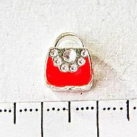 [10 мм] Бусина шарм Пандора светло серый металл сумочка красная