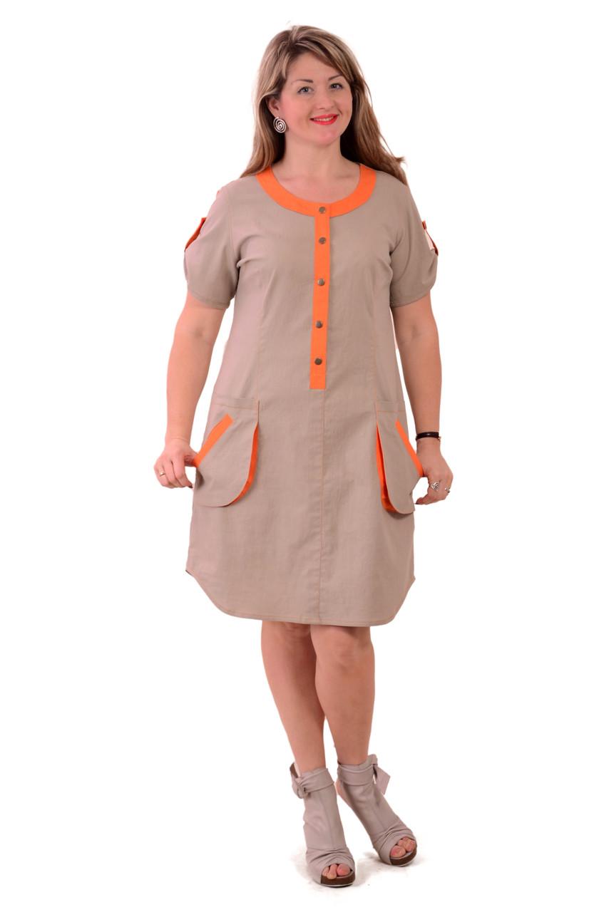 Платье из льна , бежевое  натуральное , большие размеры ,Пл 018