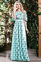 Модное Платье в Пол из Хлопка Бирюзовое с Принтом S-3XL