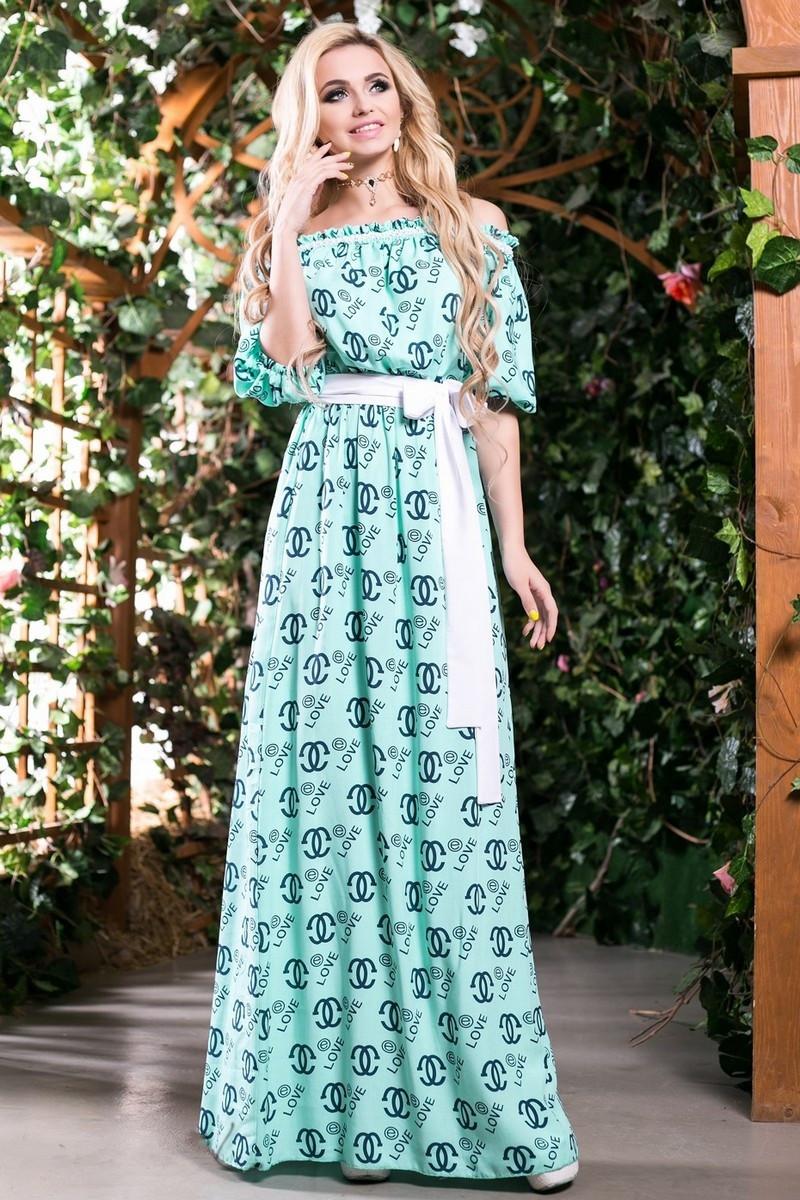 44f5b7d6a02 Модное Платье в Пол из Хлопка Бирюзовое с Принтом S-3XL - купить по ...