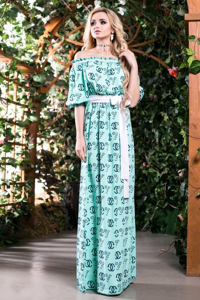 77a675bac67 Модное Платье в Пол из Хлопка Бирюзовое с Принтом S-3XL - купить по ...