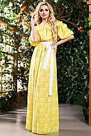 Модное Платье в Пол из Хлопка Желтое с Принтом S-3XL