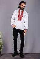 Вышитая мужская рубашка на домотканом лене с красным орнаментом