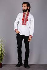 Вышитая мужская рубашка на домотканом лене с красным орнаментом , фото 2